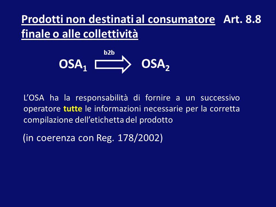 Prodotti non destinati al consumatore finale o alle collettività OSA 1 OSA 2 L'OSA ha la responsabilità di fornire a un successivo operatore tutte le