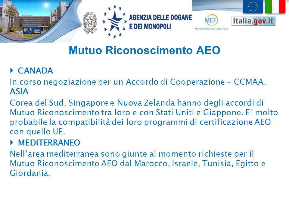 Mutuo Riconoscimento AEO  CANADA In corso negoziazione per un Accordo di Cooperazione - CCMAA. ASIA Corea del Sud, Singapore e Nuova Zelanda hanno de