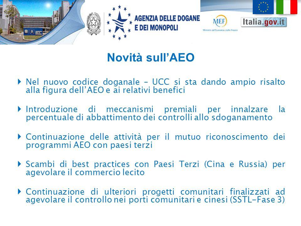 Novità sull'AEO  Nel nuovo codice doganale – UCC si sta dando ampio risalto alla figura dell'AEO e ai relativi benefici  Introduzione di meccanismi