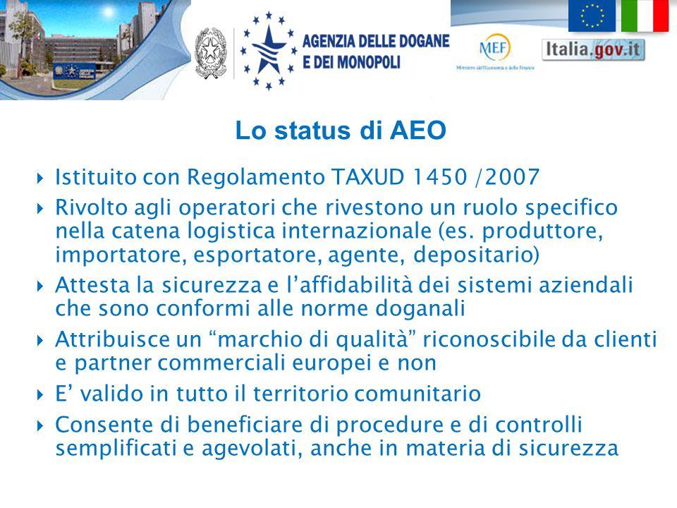 Lo status di AEO  Istituito con Regolamento TAXUD 1450 /2007  Rivolto agli operatori che rivestono un ruolo specifico nella catena logistica interna