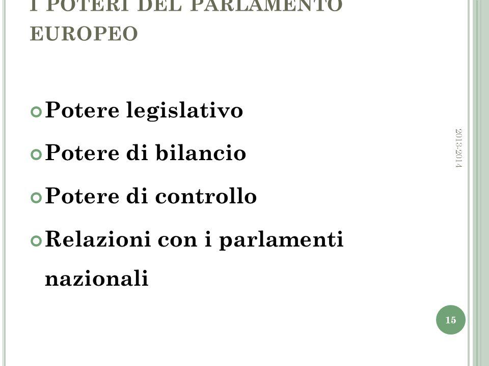 I POTERI DEL PARLAMENTO EUROPEO Potere legislativo Potere di bilancio Potere di controllo Relazioni con i parlamenti nazionali 15 2013-2014