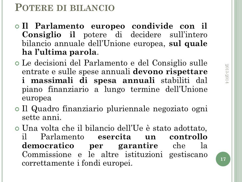 P OTERE DI BILANCIO Il Parlamento europeo condivide con il Consiglio il potere di decidere sull'intero bilancio annuale dell'Unione europea, sul quale ha l'ultima parola.