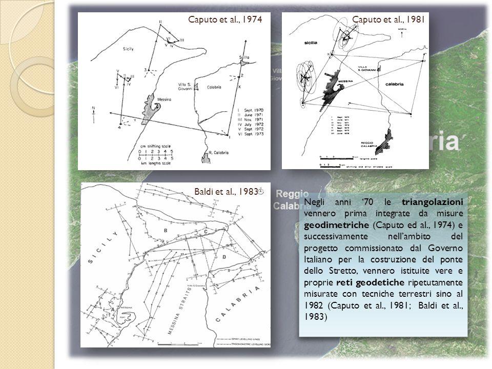 Negli anni '70 le triangolazioni vennero prima integrate da misure geodimetriche (Caputo ed al., 1974) e successivamente nell'ambito del progetto commissionato dal Governo Italiano per la costruzione del ponte dello Stretto, vennero istituite vere e proprie reti geodetiche ripetutamente misurate con tecniche terrestri sino al 1982 (Caputo et al., 1981; Baldi et al., 1983) Baldi et al., 1983 Caputo et al., 1974Caputo et al., 1981
