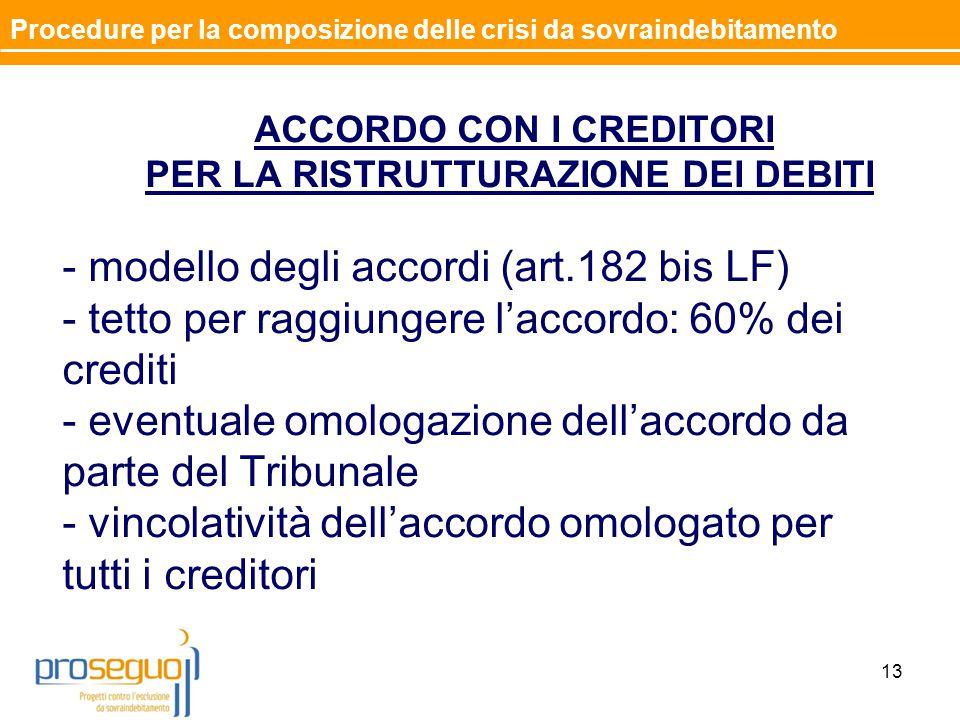 ACCORDO CON I CREDITORI PER LA RISTRUTTURAZIONE DEI DEBITI - modello degli accordi (art.182 bis LF) - tetto per raggiungere l'accordo: 60% dei crediti - eventuale omologazione dell'accordo da parte del Tribunale - vincolatività dell'accordo omologato per tutti i creditori 13 Procedure per la composizione delle crisi da sovraindebitamento