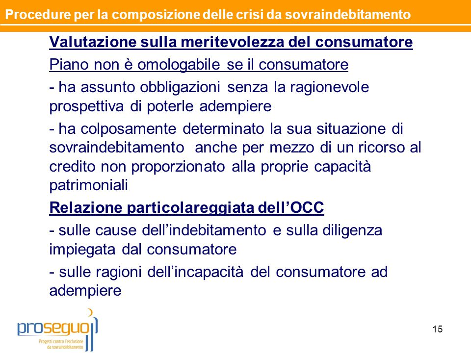 Valutazione sulla meritevolezza del consumatore Piano non è omologabile se il consumatore - ha assunto obbligazioni senza la ragionevole prospettiva d