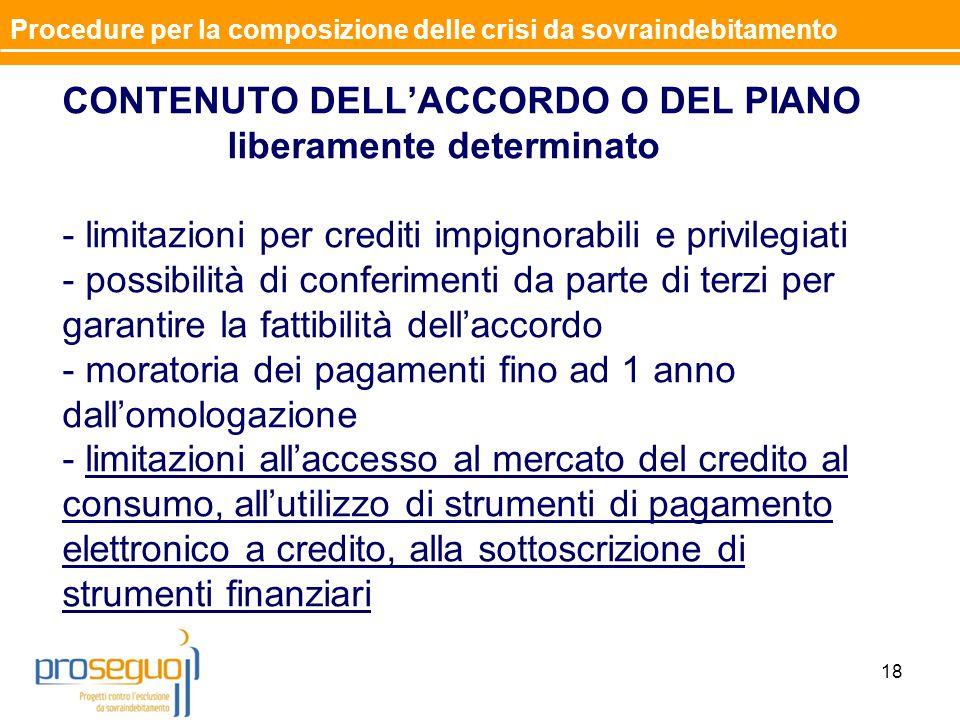 CONTENUTO DELL'ACCORDO O DEL PIANO liberamente determinato - limitazioni per crediti impignorabili e privilegiati - possibilità di conferimenti da par