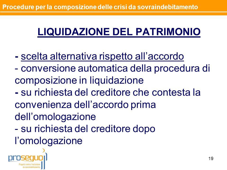 LIQUIDAZIONE DEL PATRIMONIO - scelta alternativa rispetto all'accordo - conversione automatica della procedura di composizione in liquidazione - su ri