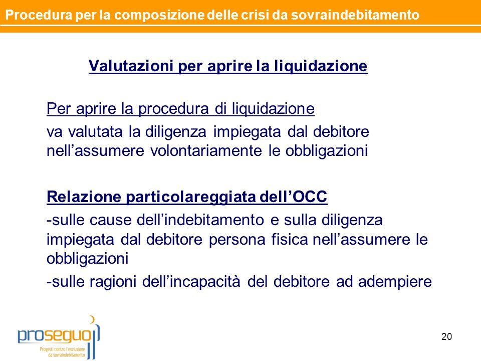 Valutazioni per aprire la liquidazione Per aprire la procedura di liquidazione va valutata la diligenza impiegata dal debitore nell'assumere volontariamente le obbligazioni Relazione particolareggiata dell'OCC -sulle cause dell'indebitamento e sulla diligenza impiegata dal debitore persona fisica nell'assumere le obbligazioni -sulle ragioni dell'incapacità del debitore ad adempiere 20 Procedura per la composizione delle crisi da sovraindebitamento