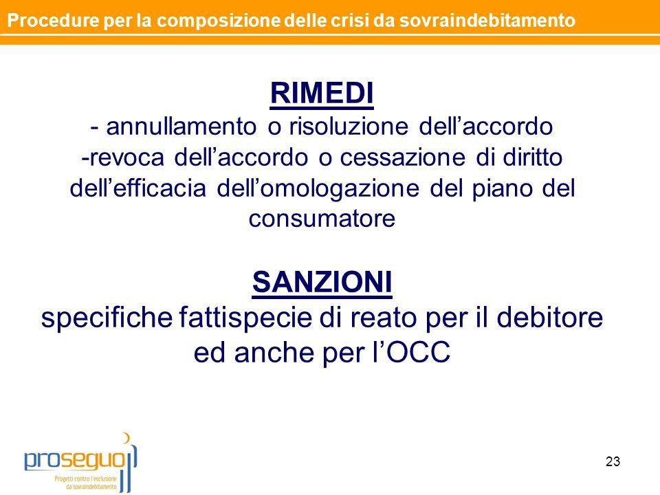 RIMEDI - annullamento o risoluzione dell'accordo -revoca dell'accordo o cessazione di diritto dell'efficacia dell'omologazione del piano del consumatore SANZIONI specifiche fattispecie di reato per il debitore ed anche per l'OCC 23 Procedure per la composizione delle crisi da sovraindebitamento