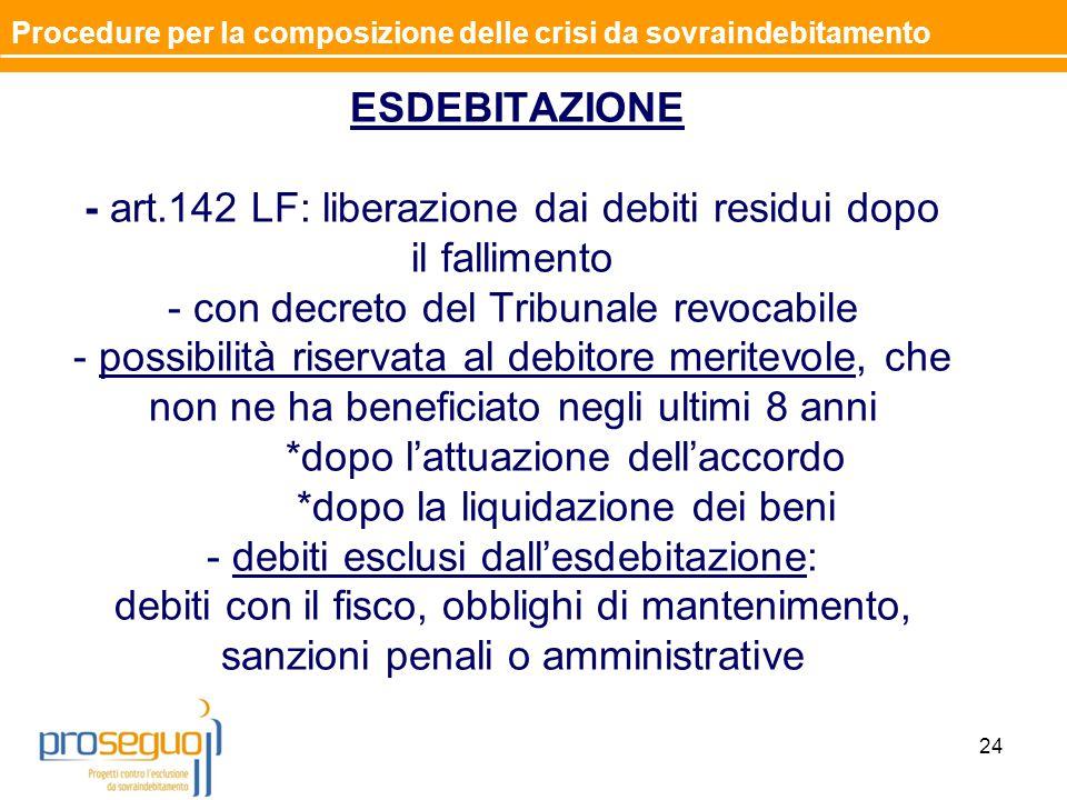ESDEBITAZIONE - art.142 LF: liberazione dai debiti residui dopo il fallimento - con decreto del Tribunale revocabile - possibilità riservata al debito