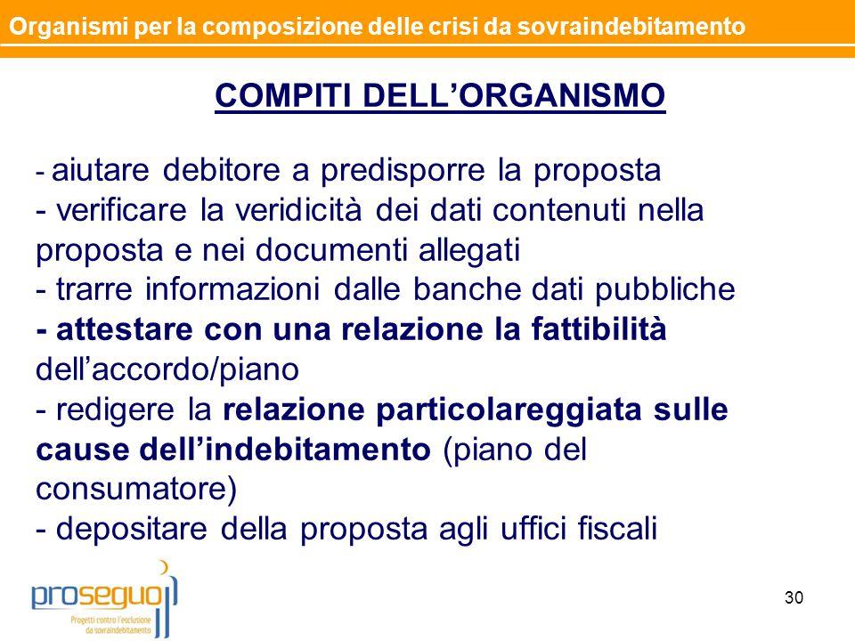 COMPITI DELL'ORGANISMO - aiutare debitore a predisporre la proposta - verificare la veridicità dei dati contenuti nella proposta e nei documenti alleg