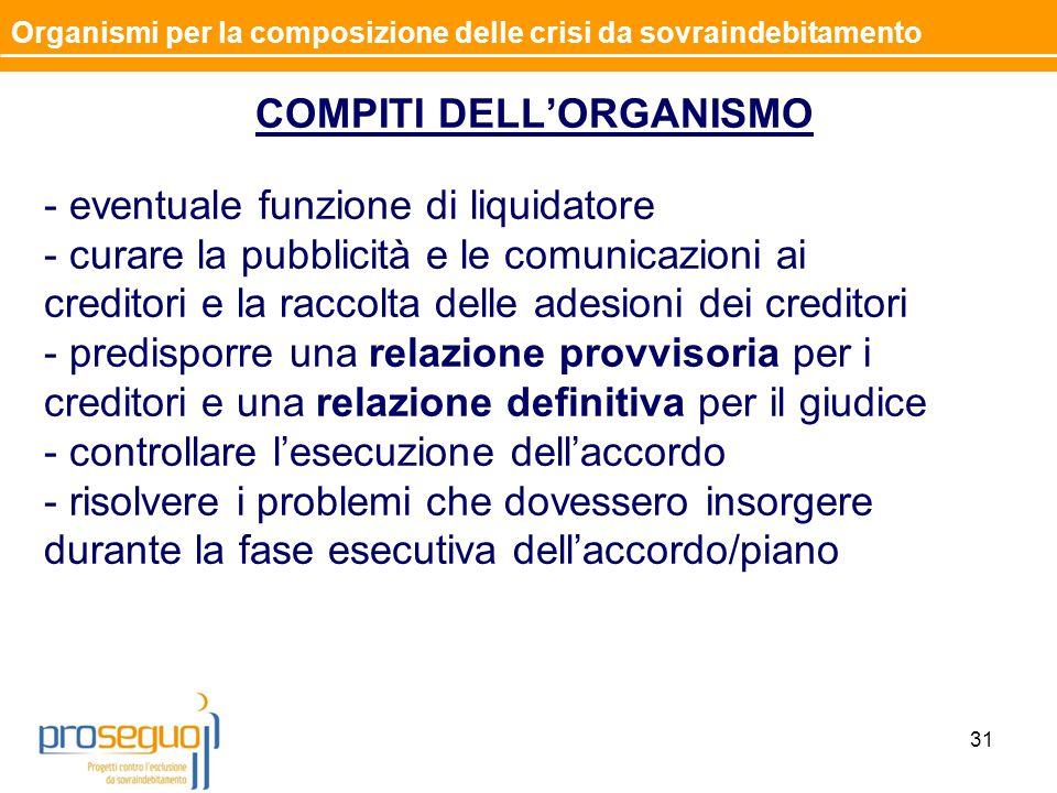 COMPITI DELL'ORGANISMO - eventuale funzione di liquidatore - curare la pubblicità e le comunicazioni ai creditori e la raccolta delle adesioni dei cre