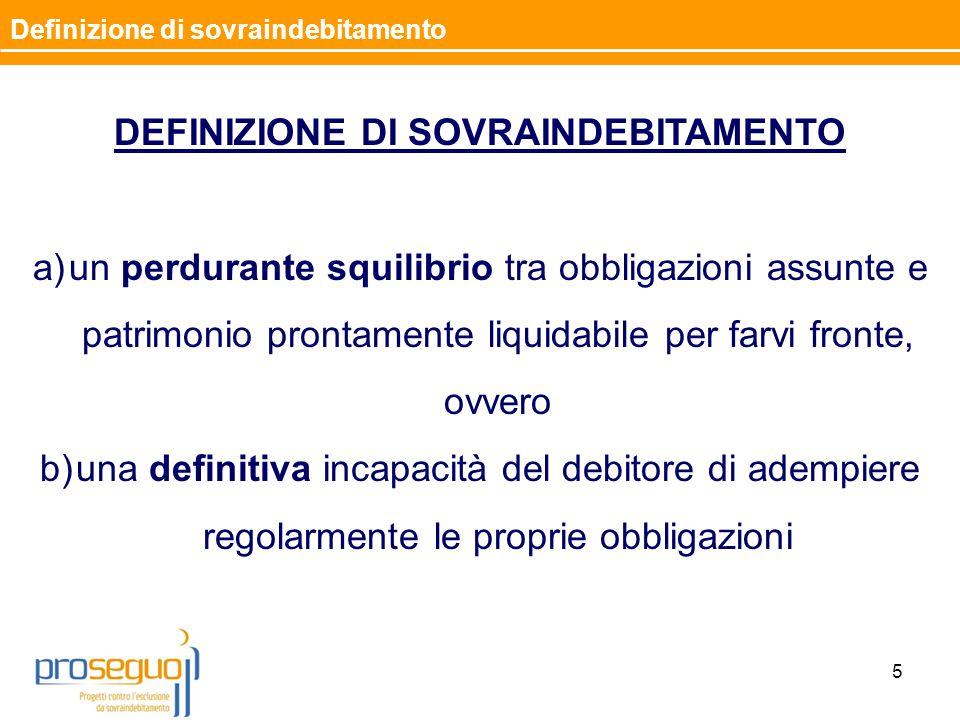 5 Definizione di sovraindebitamento DEFINIZIONE DI SOVRAINDEBITAMENTO a)un perdurante squilibrio tra obbligazioni assunte e patrimonio prontamente liq