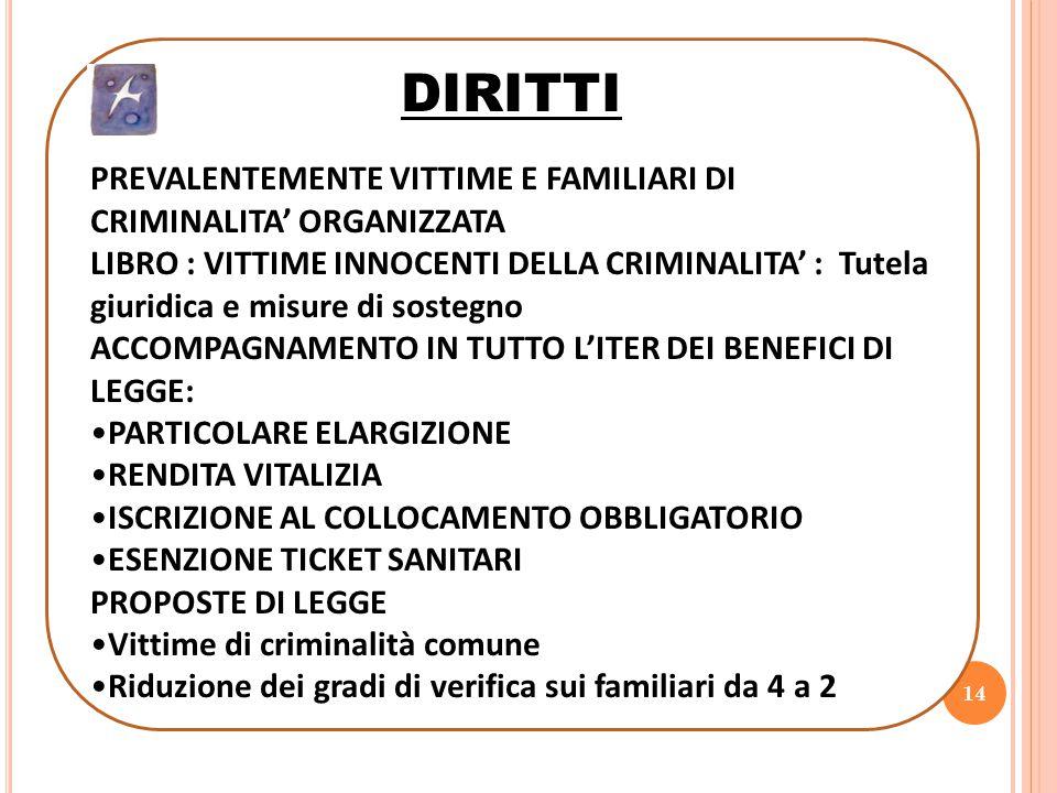 14 DIRITTI PREVALENTEMENTE VITTIME E FAMILIARI DI CRIMINALITA' ORGANIZZATA LIBRO : VITTIME INNOCENTI DELLA CRIMINALITA' : Tutela giuridica e misure di