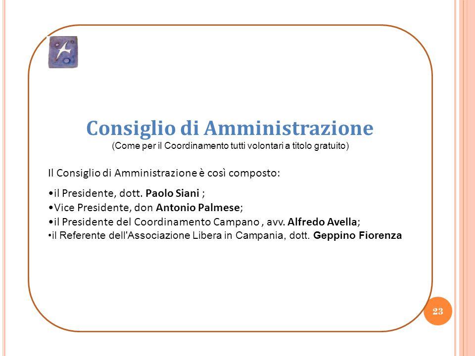 23 Consiglio di Amministrazione (Come per il Coordinamento tutti volontari a titolo gratuito) Il Consiglio di Amministrazione è così composto: il Pres