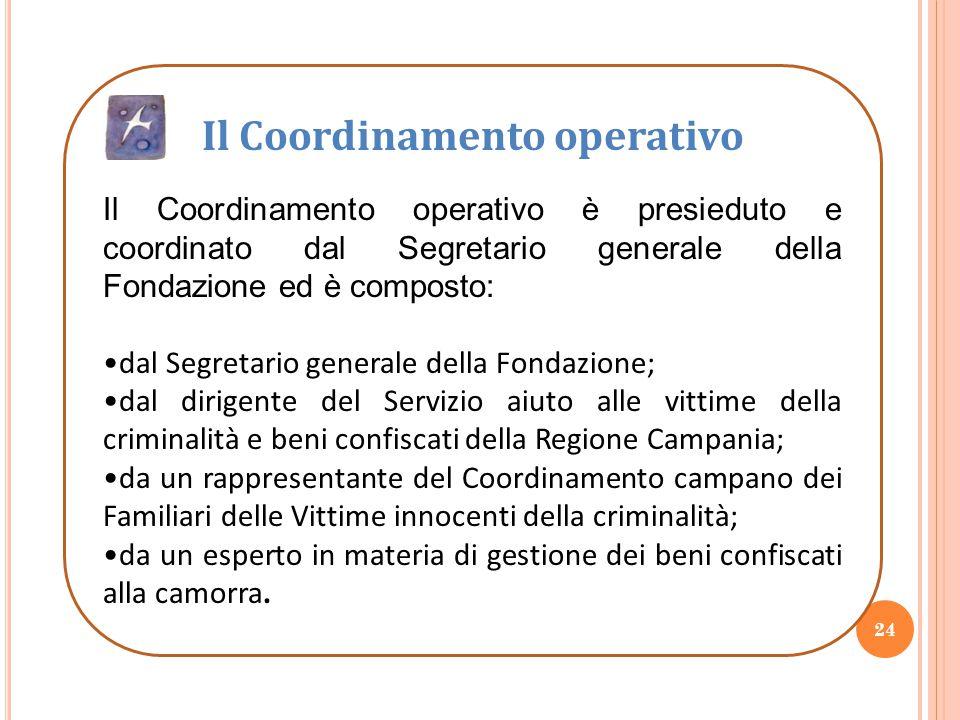 24 Il Coordinamento operativo Il Coordinamento operativo è presieduto e coordinato dal Segretario generale della Fondazione ed è composto: dal Segreta