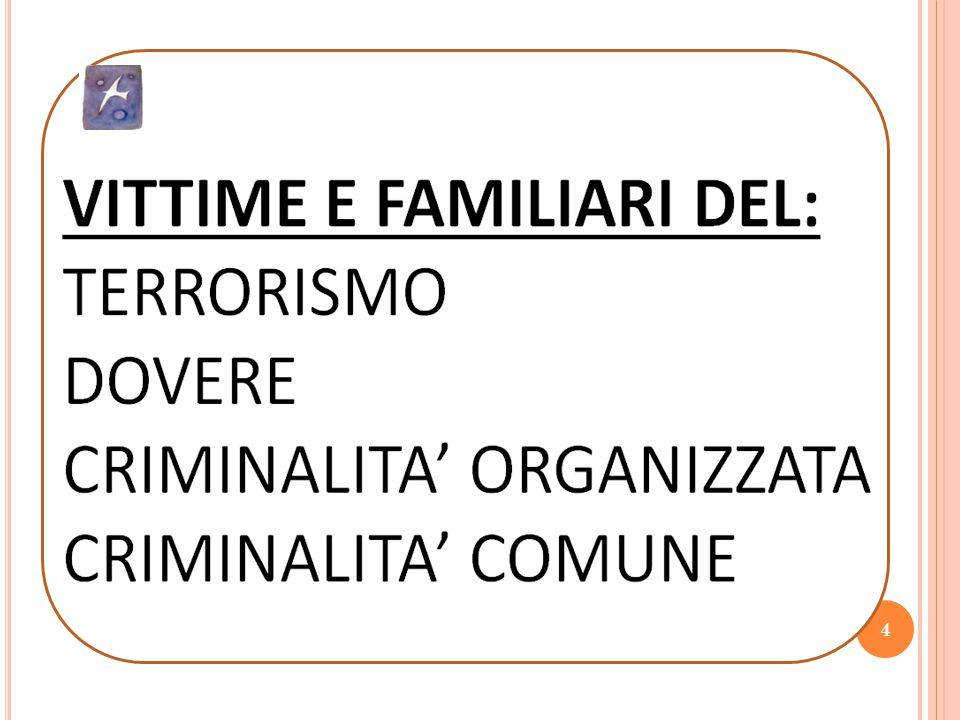 4 VITTIME E FAMILIARI DEL: TERRORISMO DOVERE CRIMINALITA' ORGANIZZATA CRIMINALITA' COMUNE