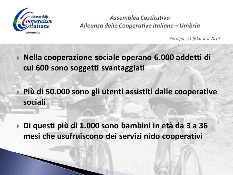  Nella cooperazione sociale operano 6.000 addetti di cui 600 sono soggetti svantaggiati  Più di 50.000 sono gli utenti assistiti dalle cooperative s