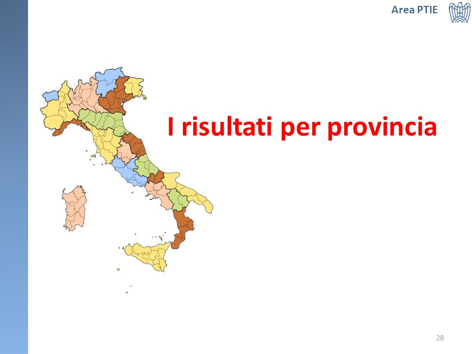 I risultati per provincia Area PTIE 28