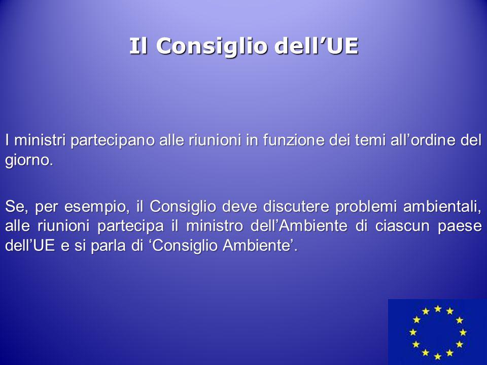 12 Il Consiglio dell'UE I ministri partecipano alle riunioni in funzione dei temi all'ordine del giorno. Se, per esempio, il Consiglio deve discutere