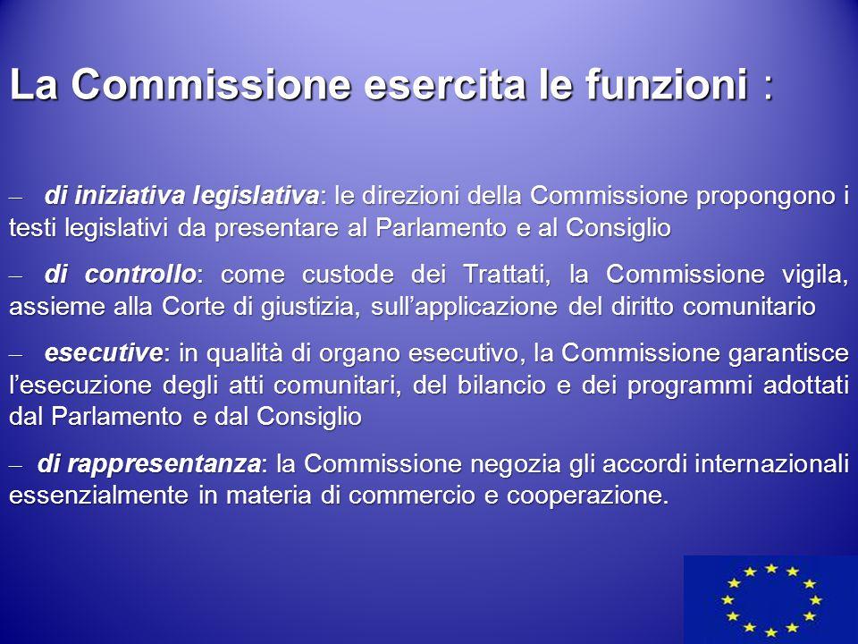 La Commissione esercita le funzioni : – di iniziativa legislativa: le direzioni della Commissione propongono i testi legislativi da presentare al Parl