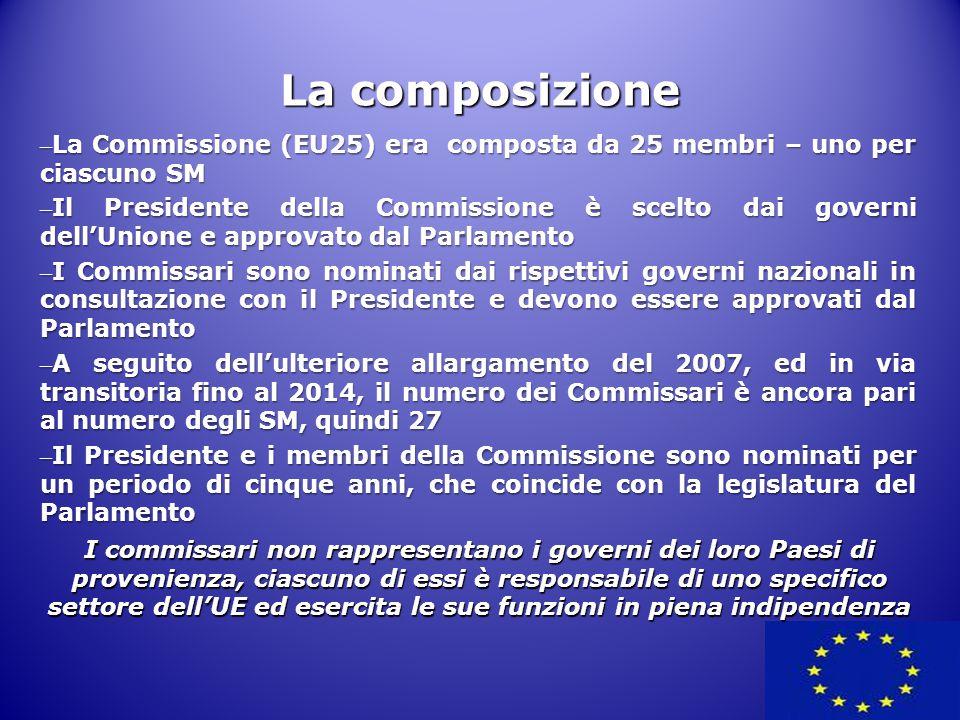La composizione – La Commissione (EU25) era composta da 25 membri – uno per ciascuno SM – Il Presidente della Commissione è scelto dai governi dell'Un