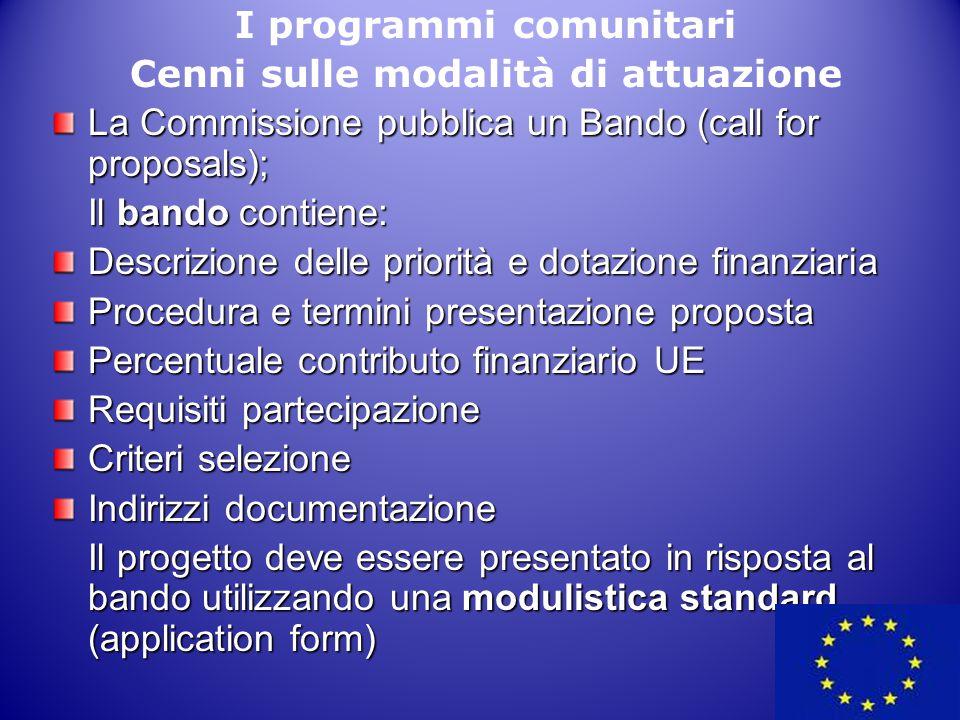I programmi comunitari Cenni sulle modalità di attuazione La Commissione pubblica un Bando (call for proposals); Il bando contiene: Descrizione delle