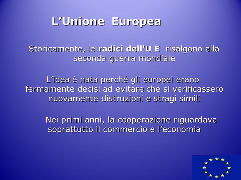 Inizialmente costituita da 6 Stati Membri (SM), l'UE ha assistito ad un processo di allargamento sempre più ampio che ha portato il numero degli SM – nel 1 gennaio 2007 - a 27: Inizialmente costituita da 6 Stati Membri (SM), l'UE ha assistito ad un processo di allargamento sempre più ampio che ha portato il numero degli SM – nel 1 gennaio 2007 - a 27: L'Unione Europea – 1952 Belgio, Francia, Germania, Italia, Lussemburgo, Paesi Bassi – 1973 Danimarca, Irlanda, Regno Unito – 1981 Grecia – 1986 Portogallo, Spagna – 1995 Austria, Finlandia, Svezia – 2004 Cipro, Estonia, Lettonia, Lituania, Malta, Polonia, Repubblica Ceca, Slovacchia, Slovenia, Ungheria - 1 gennaio 2007 Bulgaria, Romania Paesi Membri della UE e data di adesione