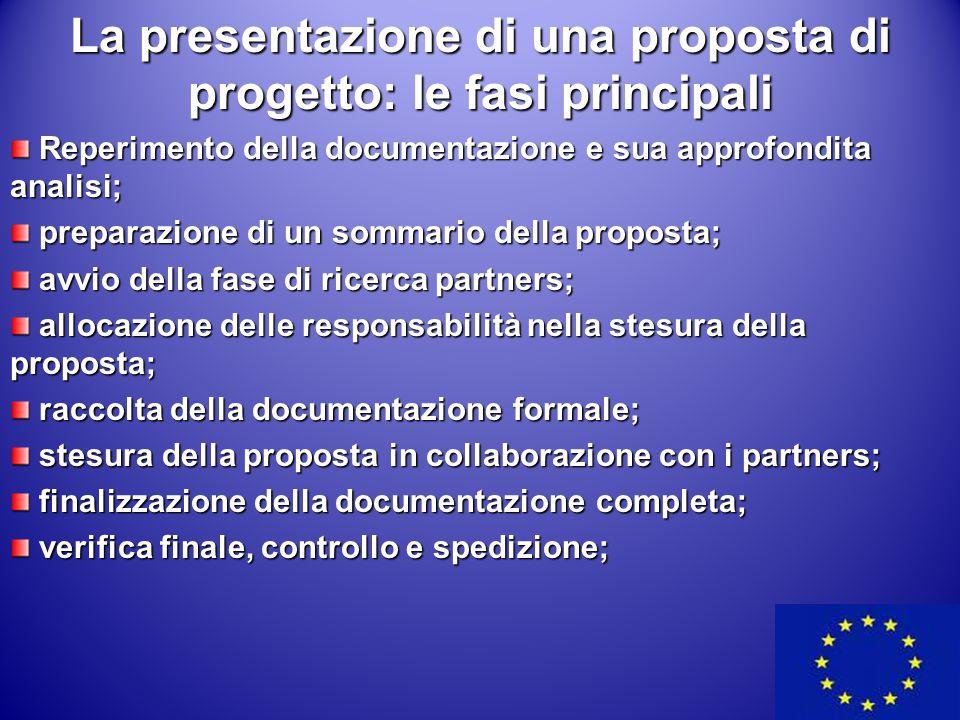La presentazione di una proposta di progetto: le fasi principali Reperimento della documentazione e sua approfondita analisi; Reperimento della docume