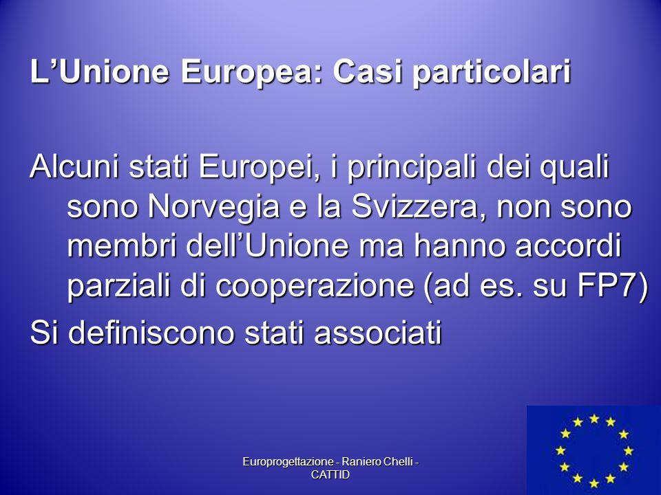 L'Unione Europea: Casi particolari Alcuni stati Europei, i principali dei quali sono Norvegia e la Svizzera, non sono membri dell'Unione ma hanno acco