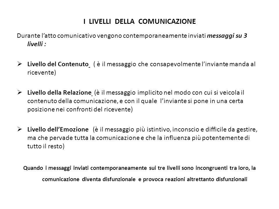 I LIVELLI DELLA COMUNICAZIONE Durante l'atto comunicativo vengono contemporaneamente inviati messaggi su 3 livelli :  Livello del Contenuto ( è il messaggio che consapevolmente l'inviante manda al ricevente)  Livello della Relazione (è il messaggio implicito nel modo con cui si veicola il contenuto della comunicazione, e con il quale l'inviante si pone in una certa posizione nei confronti del ricevente)  Livello dell'Emozione (è il messaggio più istintivo, inconscio e difficile da gestire, ma che pervade tutta la comunicazione e che la influenza più potentemente di tutto il resto) Quando i messaggi inviati contemporaneamente sui tre livelli sono incongruenti tra loro, la comunicazione diventa disfunzionale e provoca reazioni altrettanto disfunzionali