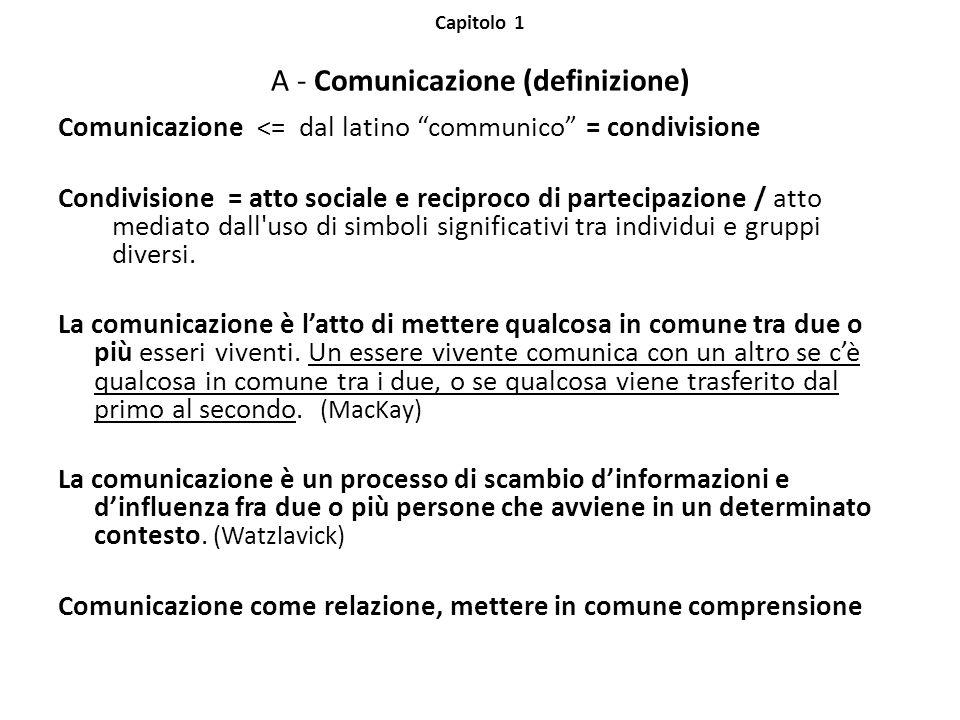 Capitolo 1 A - Comunicazione (definizione) Comunicazione <= dal latino communico = condivisione Condivisione = atto sociale e reciproco di partecipazione / atto mediato dall uso di simboli significativi tra individui e gruppi diversi.