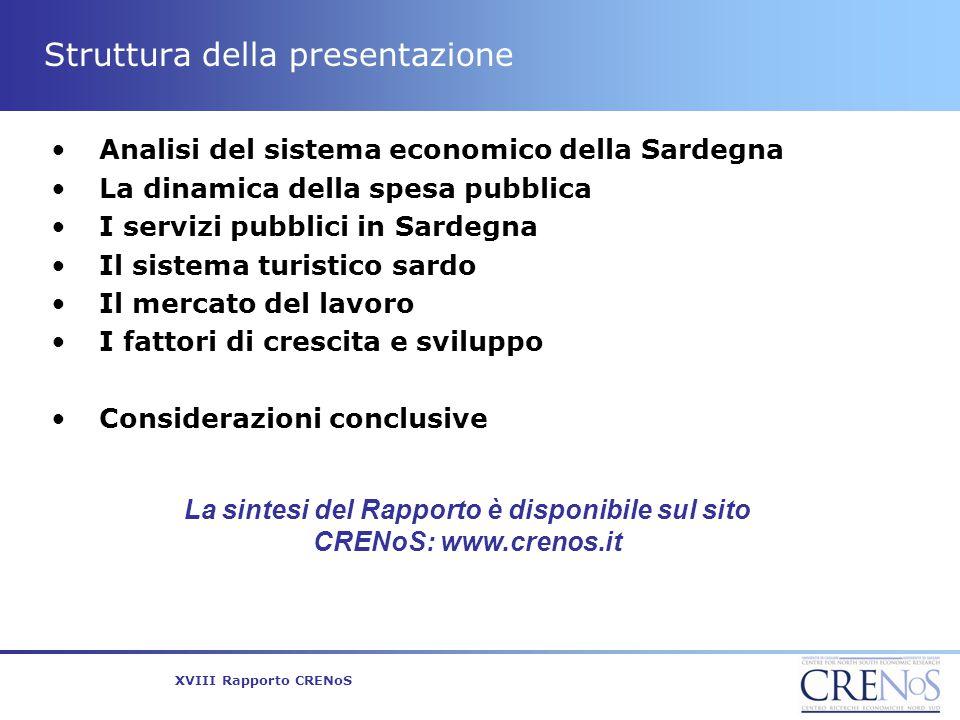 XVIII Rapporto CRENoS Struttura della presentazione Analisi del sistema economico della Sardegna La dinamica della spesa pubblica I servizi pubblici i