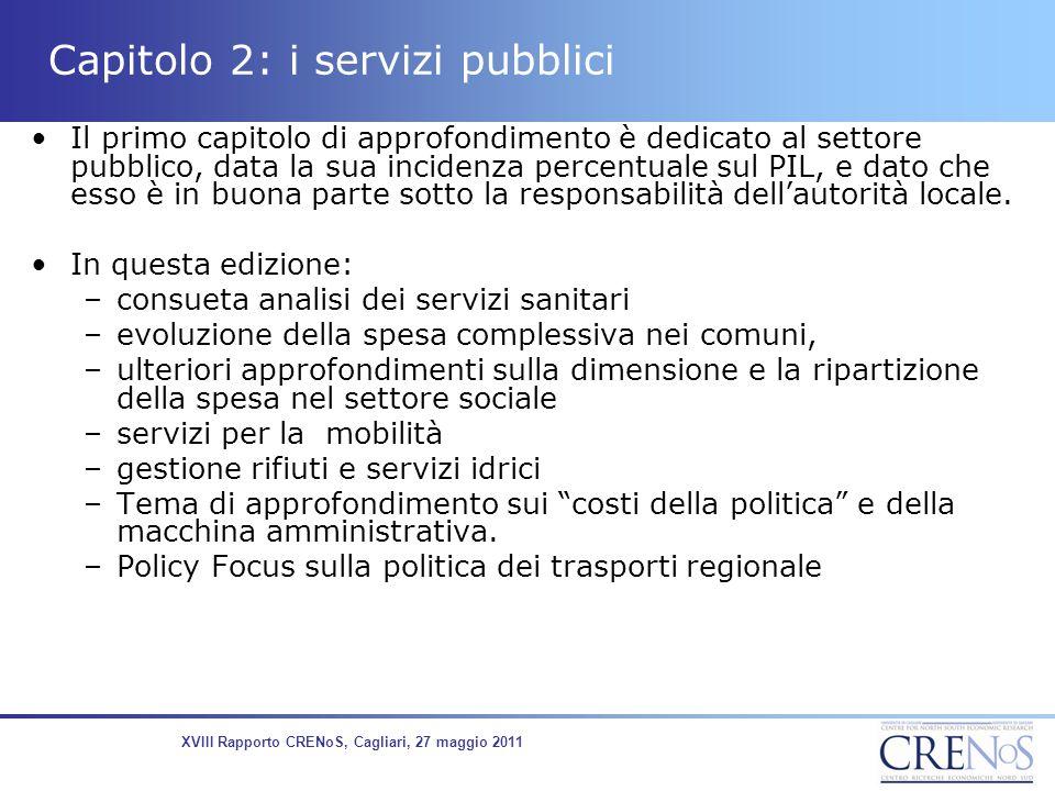 L'andamento della spesa sanitaria pubblica -l'incidenza sul PIL Fonte: SIS-Ministero della Salute 8,5 6,7 9,0 7,2 XVIII Rapporto CRENoS, Cagliari, 2011