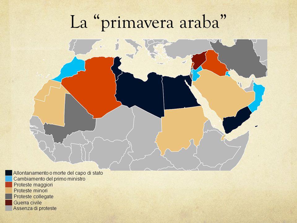 """La """"primavera araba"""" ██ Allontanamento o morte del capo di stato ██ Cambiamento del primo ministro ██ Proteste maggiori ██ Proteste minori ██ Proteste"""