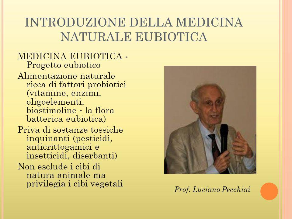 INTRODUZIONE DELLA MEDICINA NATURALE EUBIOTICA MEDICINA EUBIOTICA - Progetto eubiotico Alimentazione naturale ricca di fattori probiotici (vitamine, e