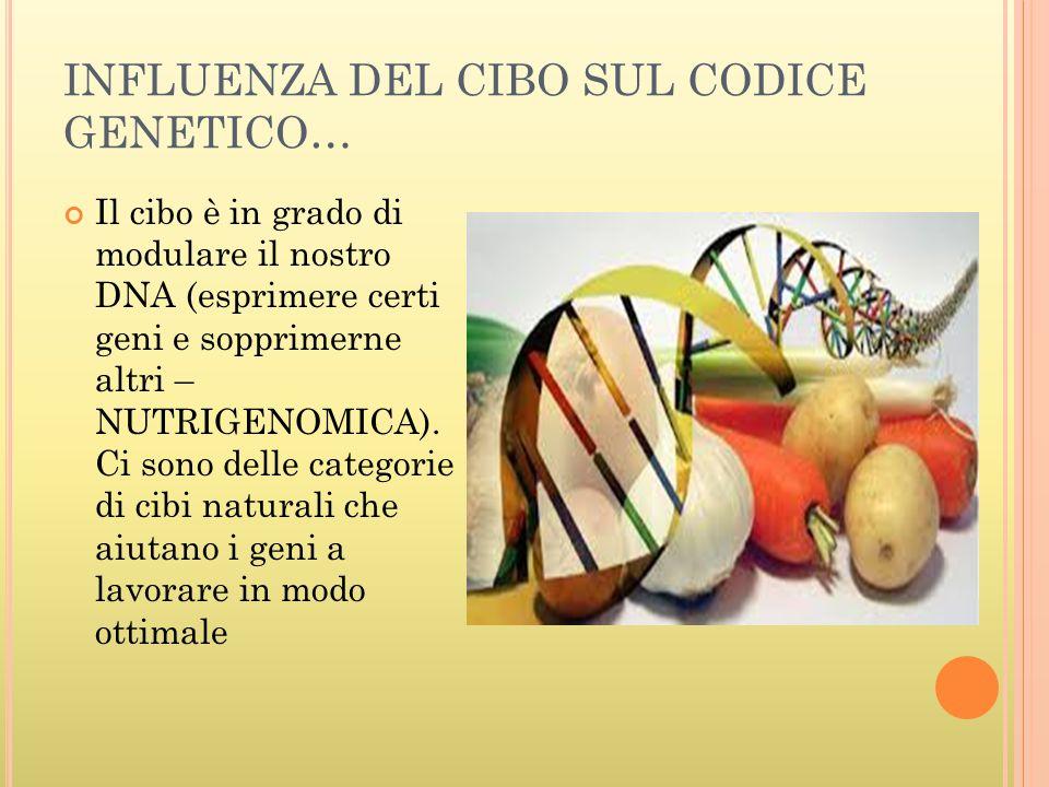 INFLUENZA DEL CIBO SUL CODICE GENETICO… Il cibo è in grado di modulare il nostro DNA (esprimere certi geni e sopprimerne altri – NUTRIGENOMICA). Ci so