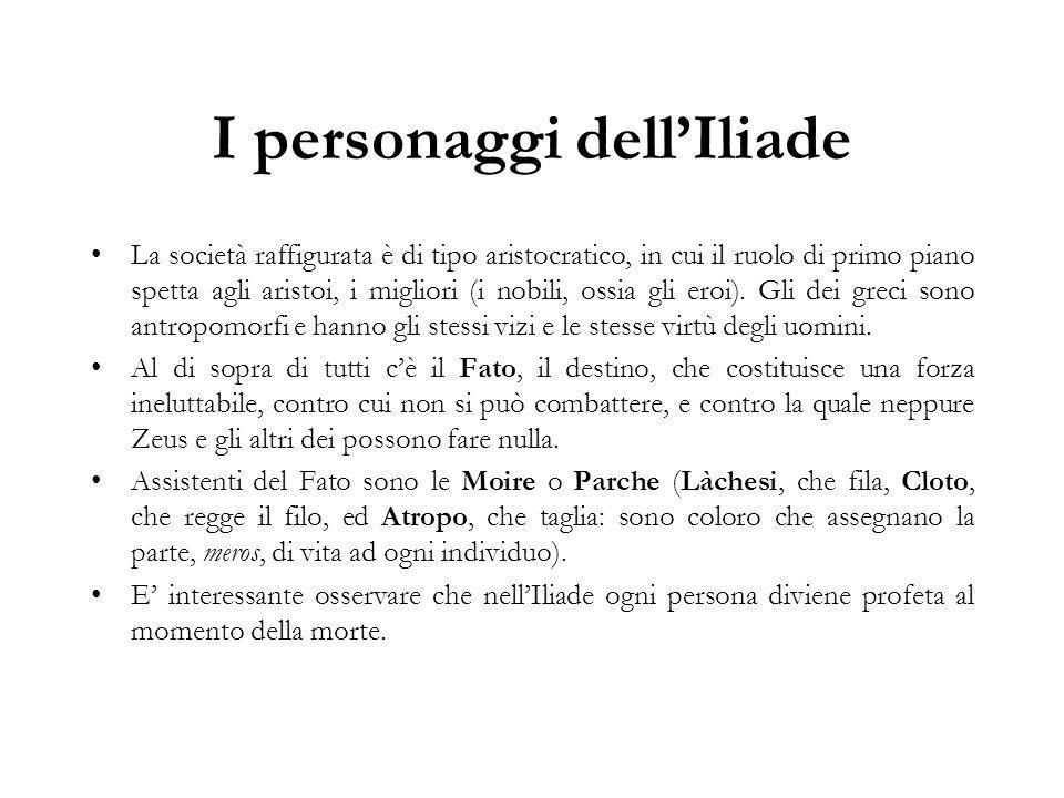 I personaggi dell'Iliade La società raffigurata è di tipo aristocratico, in cui il ruolo di primo piano spetta agli aristoi, i migliori (i nobili, ossia gli eroi).