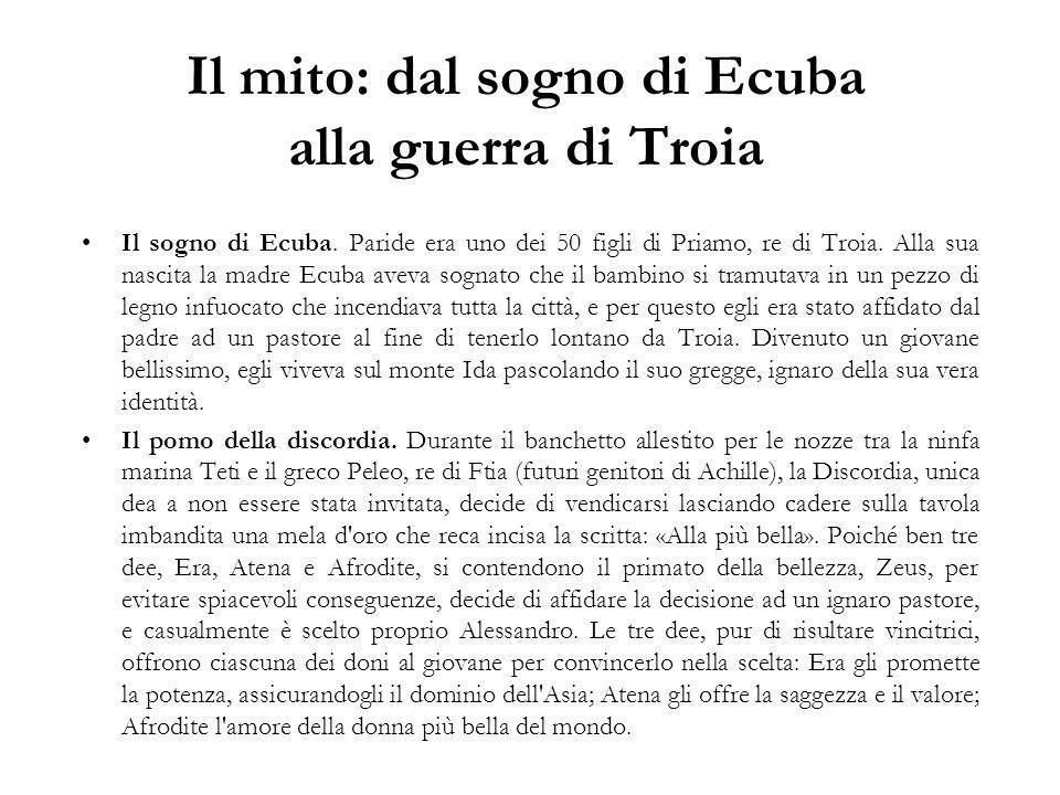 Il mito: dal sogno di Ecuba alla guerra di Troia Il sogno di Ecuba.