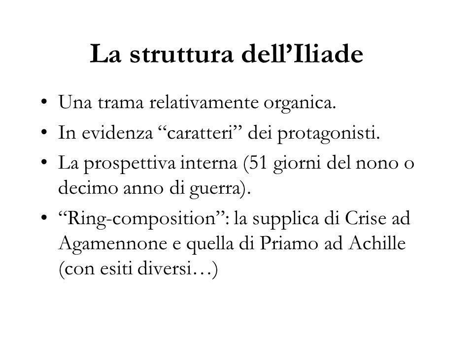 La struttura dell'Iliade Una trama relativamente organica.