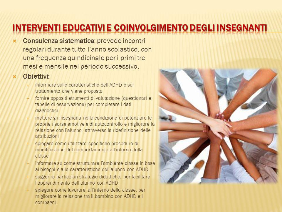  Consulenza sistematica: prevede incontri regolari durante tutto l'anno scolastico, con una frequenza quindicinale per i primi tre mesi e mensile nel