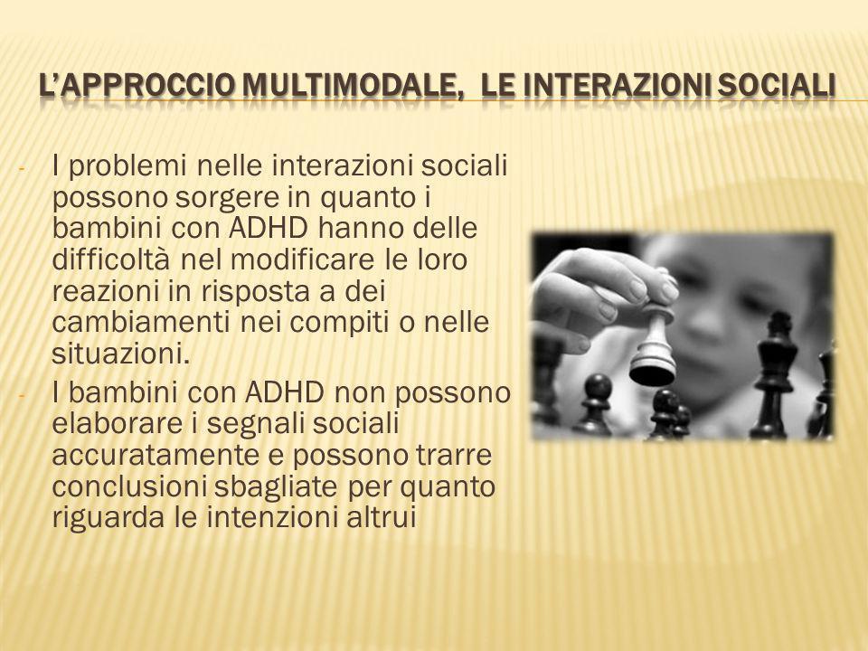 - I problemi nelle interazioni sociali possono sorgere in quanto i bambini con ADHD hanno delle difficoltà nel modificare le loro reazioni in risposta