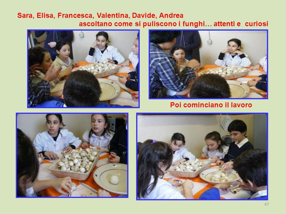 Sara, Elisa, Francesca, Valentina, Davide, Andrea ascoltano come si puliscono i funghi… attenti e curiosi Poi cominciano il lavoro 47