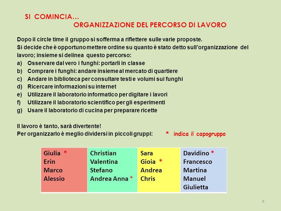 SI COMINCIA… ORGANIZZAZIONE DEL PERCORSO DI LAVORO Dopo il circle time il gruppo si sofferma a riflettere sulle varie proposte.