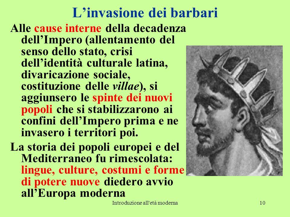 Introduzione all'età moderna10 L'invasione dei barbari Alle cause interne della decadenza dell'Impero (allentamento del senso dello stato, crisi dell'