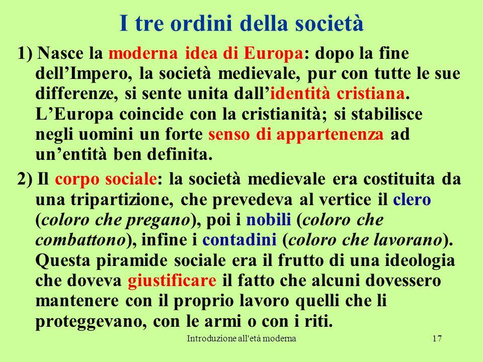 Introduzione all'età moderna17 I tre ordini della società 1) Nasce la moderna idea di Europa: dopo la fine dell'Impero, la società medievale, pur con