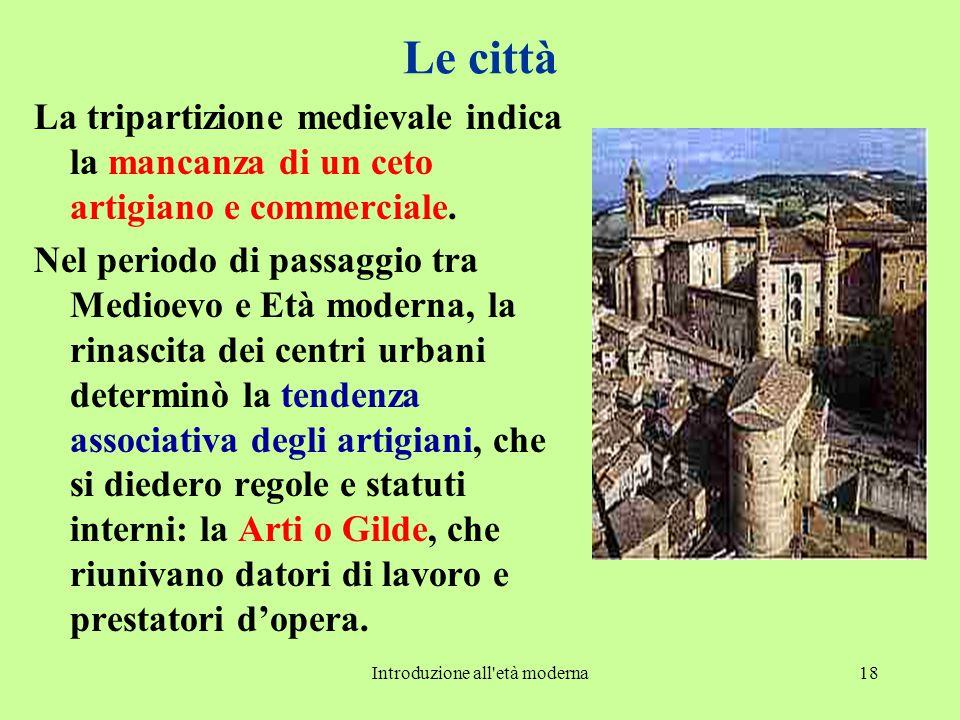 Introduzione all età moderna18 Le città La tripartizione medievale indica la mancanza di un ceto artigiano e commerciale.
