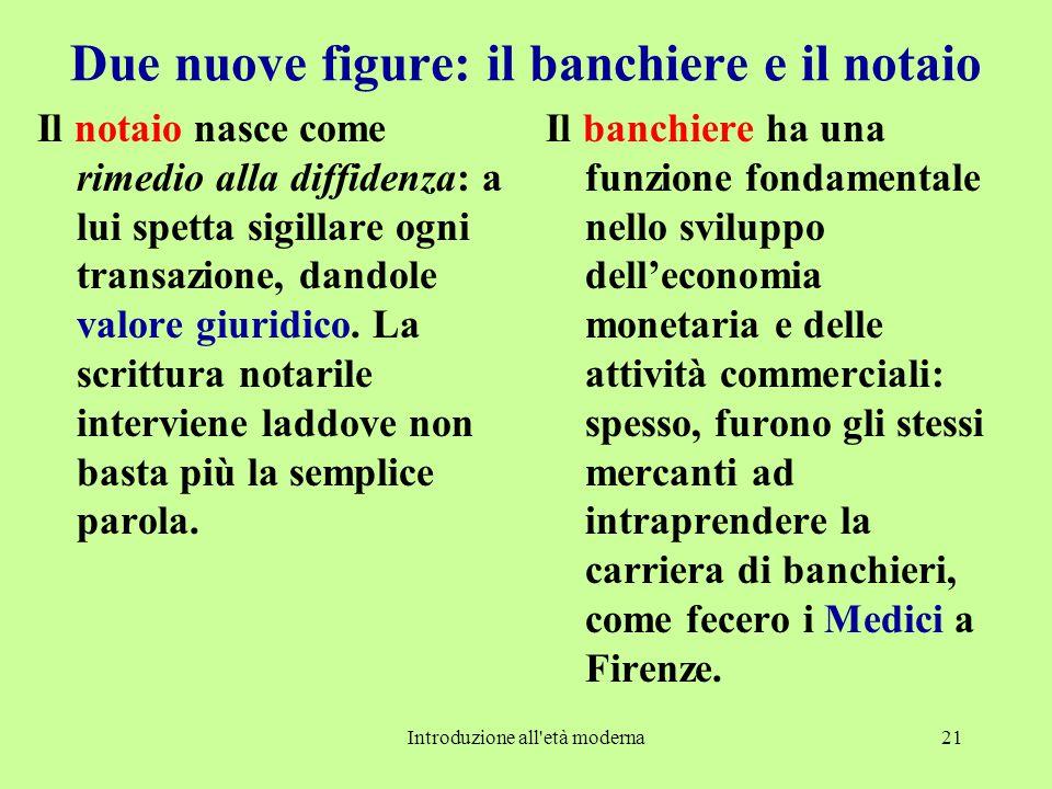 Introduzione all età moderna21 Due nuove figure: il banchiere e il notaio Il notaio nasce come rimedio alla diffidenza: a lui spetta sigillare ogni transazione, dandole valore giuridico.
