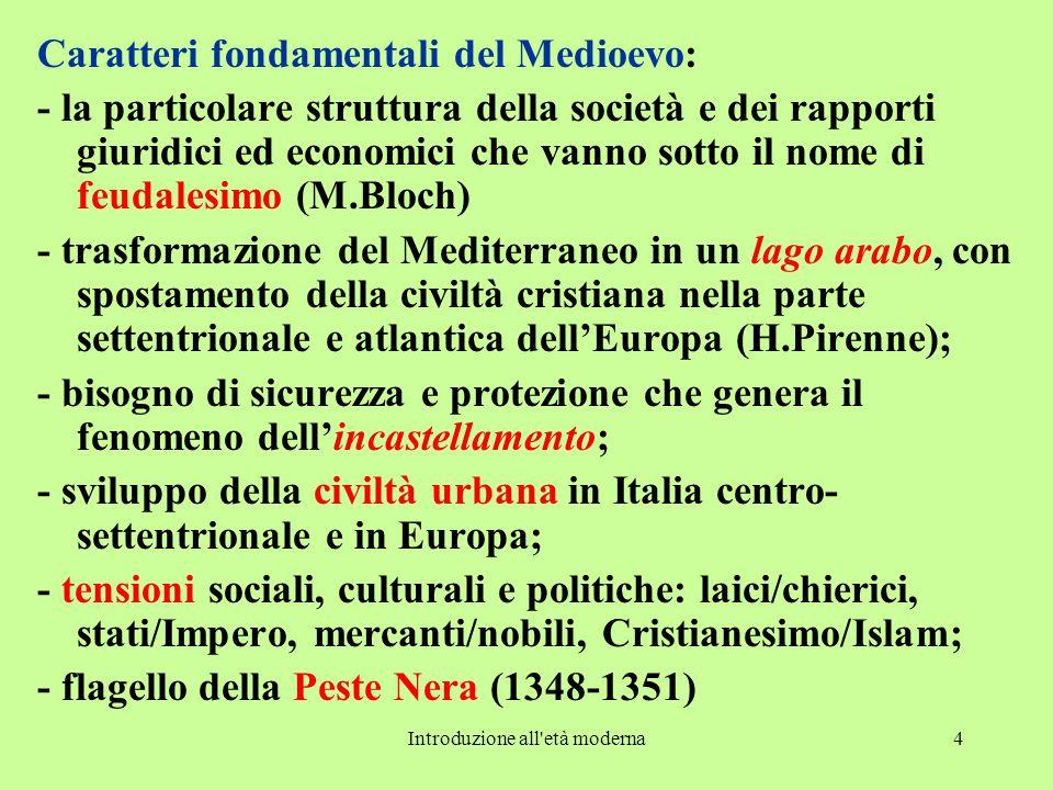 Introduzione all'età moderna4 Caratteri fondamentali del Medioevo: - la particolare struttura della società e dei rapporti giuridici ed economici che