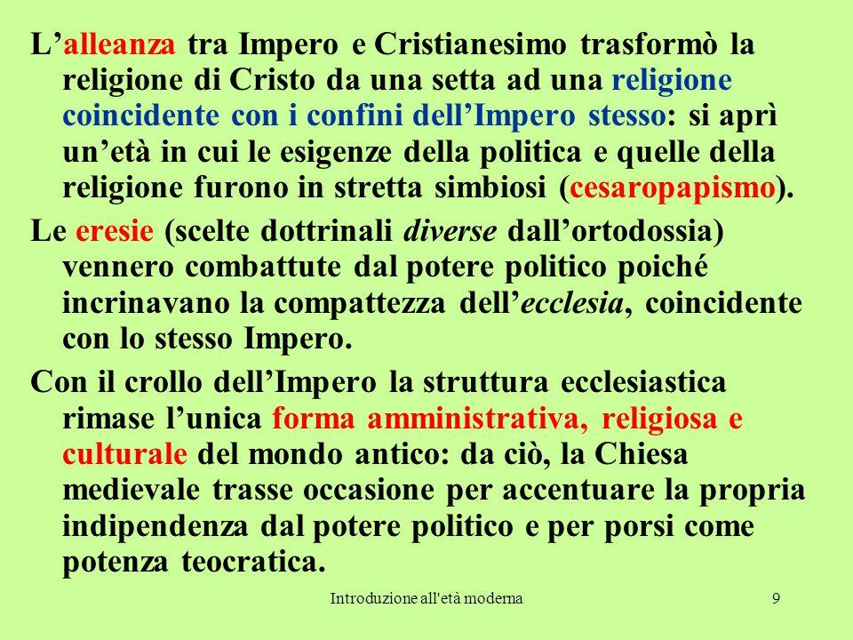 Introduzione all'età moderna9 L'alleanza tra Impero e Cristianesimo trasformò la religione di Cristo da una setta ad una religione coincidente con i c